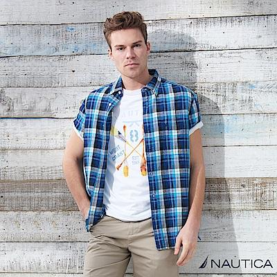 Nautica 復古大格紋短袖襯衫 -藍