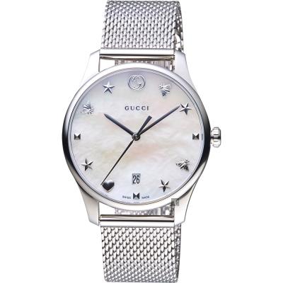 GUCCI古馳 G~Timeless 超薄米蘭帶手錶~珍珠貝x36mm