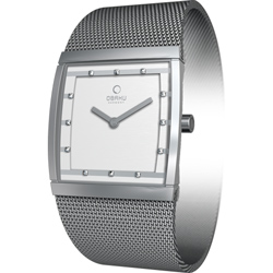 OBAKU 方型視覺晶鑽米蘭腕錶-V102LCCMC/27mm