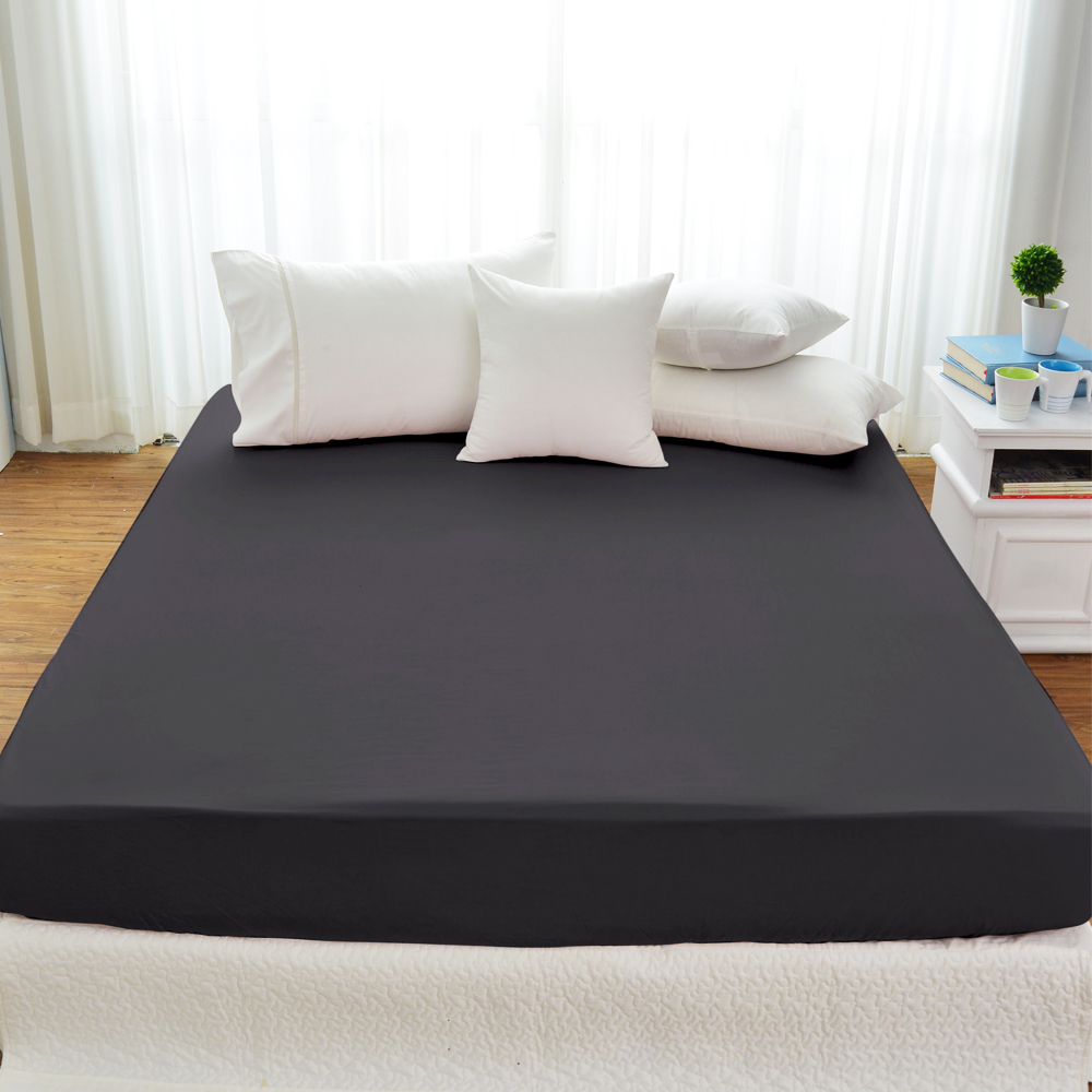 Cozy inn 簡單純色-鐵灰-200織精梳棉床包(加大)