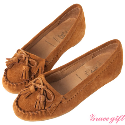 Grace gift-全真皮流蘇內增高莫卡辛鞋 棕