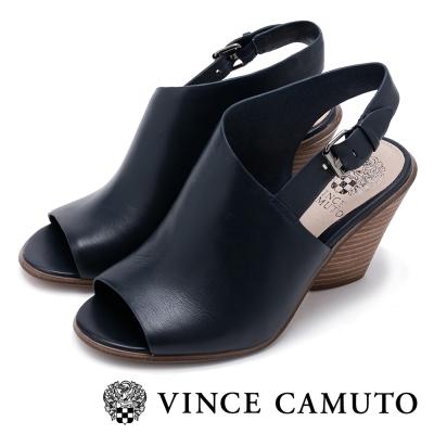 VINCECAMUTO真皮斜切繞踝粗跟涼鞋-藍色