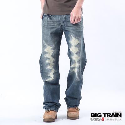 BIG TRAIN 後袋繡花割破垮褲-男-深藍