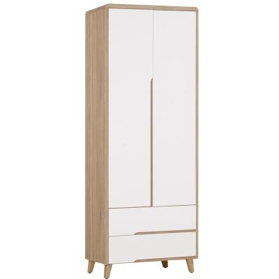 Boden-萊羅2.5尺二門二抽衣櫃-76x55x204cm