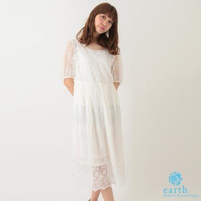 earth music 氣質蕾絲花邊領洋裝