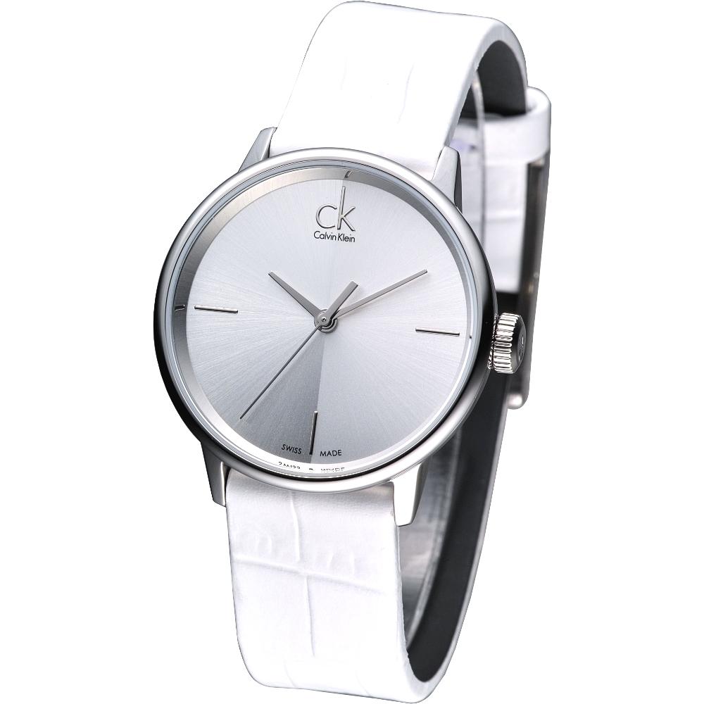 cK Accent 都會菁英時尚品味風女錶-白/32mm