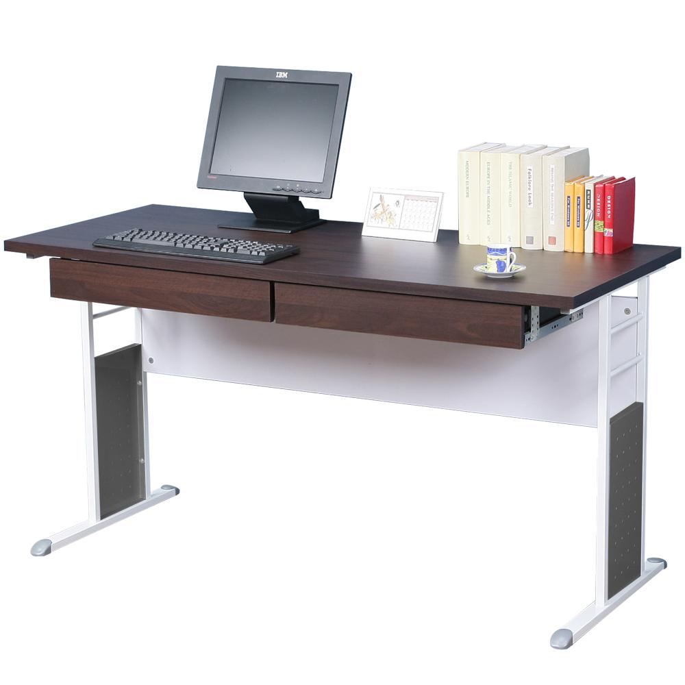 Homelike 巧思辦公桌 亮白系列-胡桃加厚桌面140cm(附二抽屜)