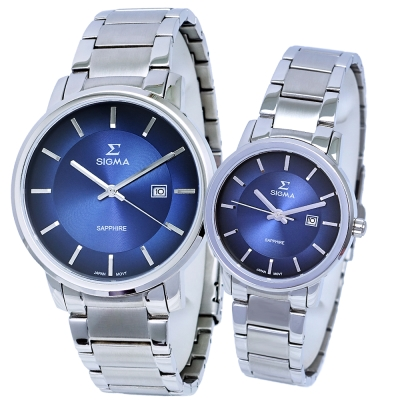 SIGMA 質感簡約藍寶石時尚情人對錶-藍X銀/30/40mm