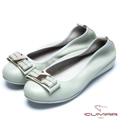 CUMAR流行時尚 金屬蝴蝶結真皮芭蕾舞鞋-淺綠