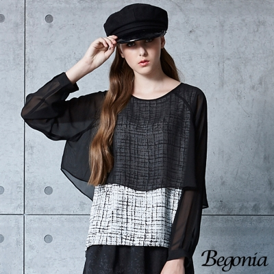 Begonia 假兩件混色格紋雪紡上衣(共二色)