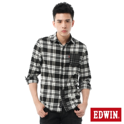 EDWIN 輕磨毛格紋拼接長袖襯衫-男-白色