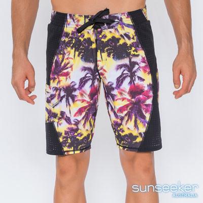 澳洲Sunseeker泳裝時尚男士快乾雙層寬版泳褲衝浪褲-椰林黃