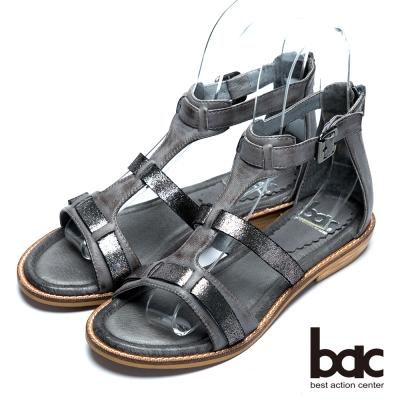 bac歐風時尚 混搭風格羅馬涼鞋-深灰色
