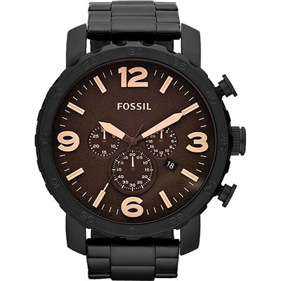 FOSSIL 大世紀戰神三眼計時腕錶-咖啡xIP黑/50mm