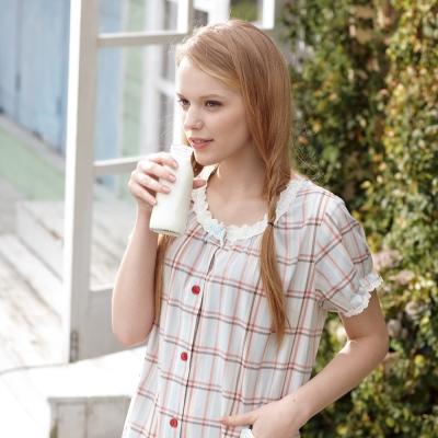 羅絲美睡衣 - 氣質格短袖洋裝睡衣(淺藍紅格)