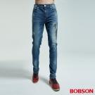 BOBSON 男款大彈力補釘窄管褲