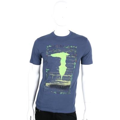TRUSSARDI-JEANS 藍灰色仿舊刷色郵票LOGO棉質短袖T恤