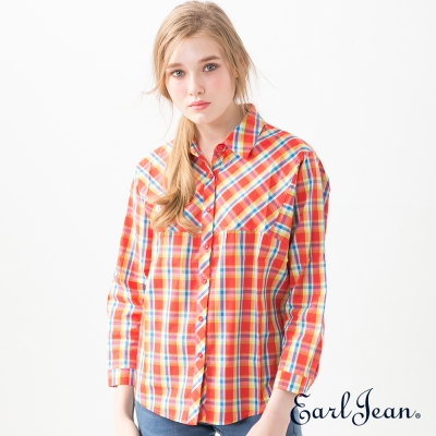Earl Jean 隨性寬版襯衫-橘紅-女