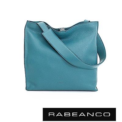 RABEANCO 時尚簡約牛皮寬肩帶設計方形包 -藍綠