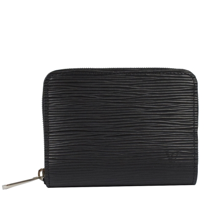 LV M60152 EPI水波紋ㄇ字拉鍊短夾零錢包.黑