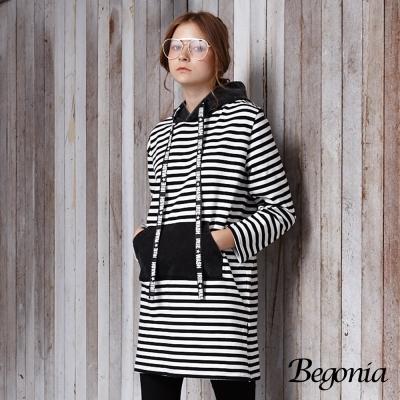 Begonia 字母抽繩條紋連帽長版上衣(黑色)