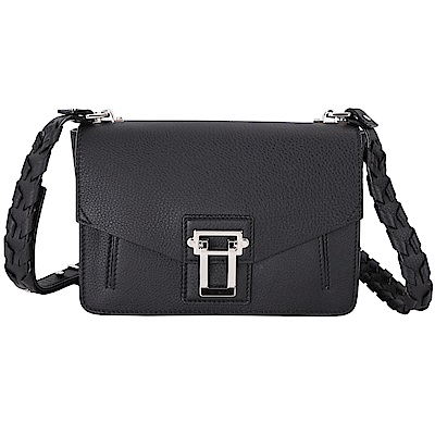 PROENZA SCHOULER Hava 編織設計背帶經典方釦肩背包(黑色)