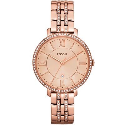 FOSSIL 羅馬風尚仕女晶鑽薄型腕錶-玫塊金/36mm