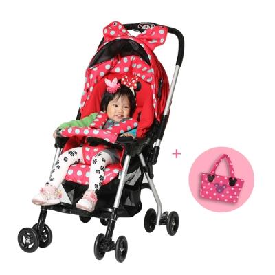 DISNEY迪士尼 米妮雙向秒收手推車+時尚空氣媽媽包 小側包(共2色)