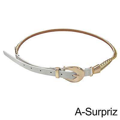 A-Surpriz 甜美搖滾多層次鉚釘腰帶(白)