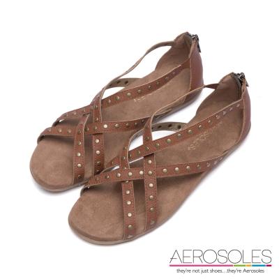 AEROSOLES-幾何交叉鏤空鉚釘後拉鍊式涼鞋-個性棕褐