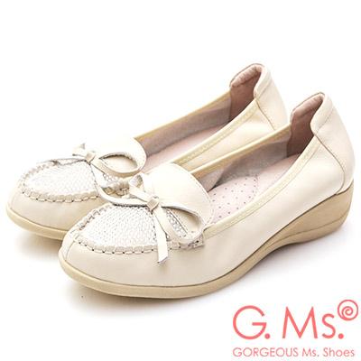 G.Ms. 牛皮燙鑽蝴蝶結坡跟鞋-米白