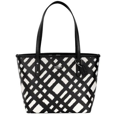 COACH黑白筆刷毛邊斜格紋PVC手提/肩背方包(中)