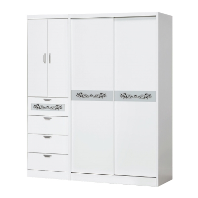 Bernice-6尺白色四抽推門衣櫃-180x60x198cm