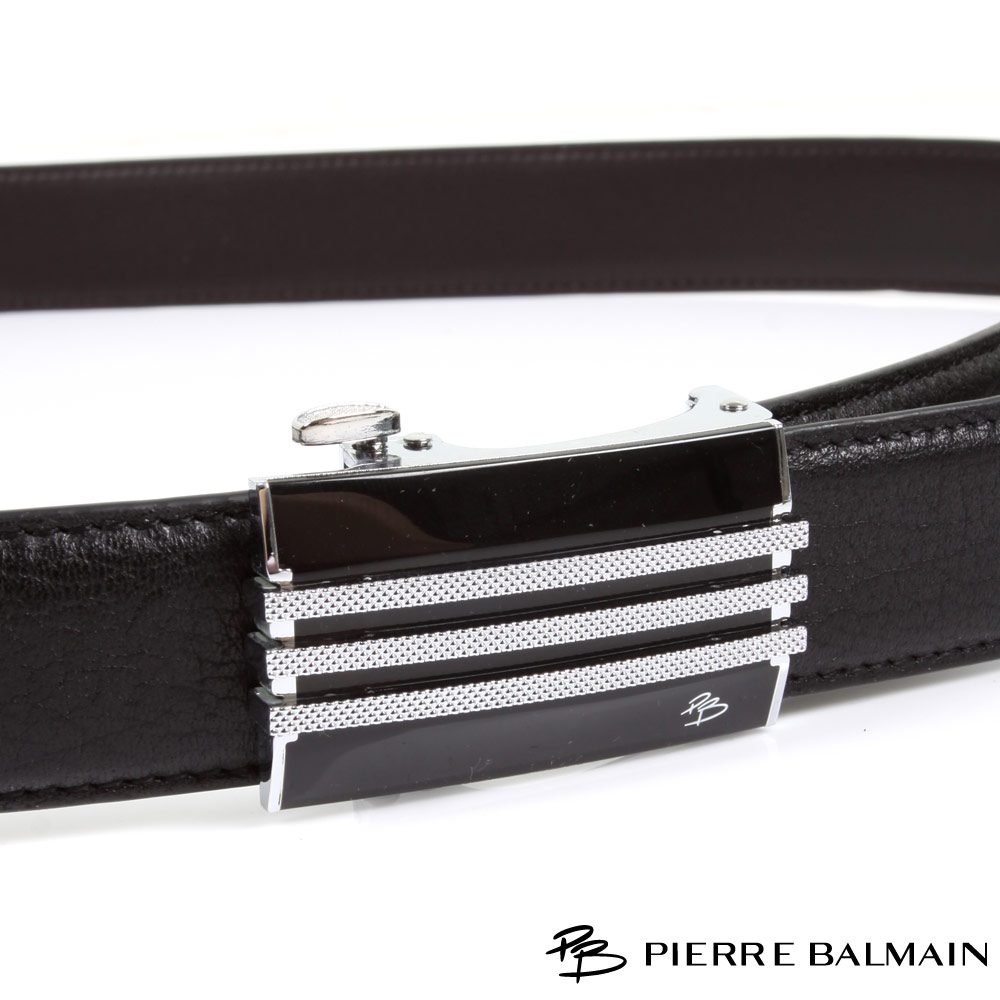 PB-皮爾帕門-經典方框黑底幾何線條Logo款-頭層牛皮自動扣皮帶-855