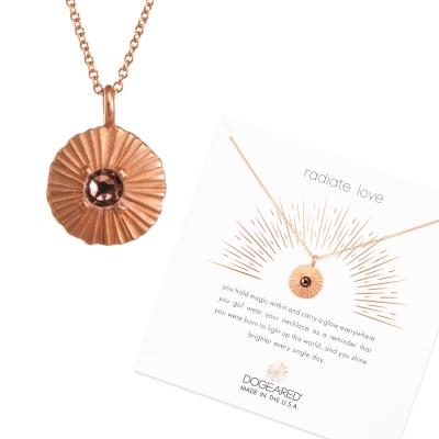 Dogeared Disc 粉水晶圓牌項鍊 光芒錢幣玫瑰金項鍊 綻放愛的光芒