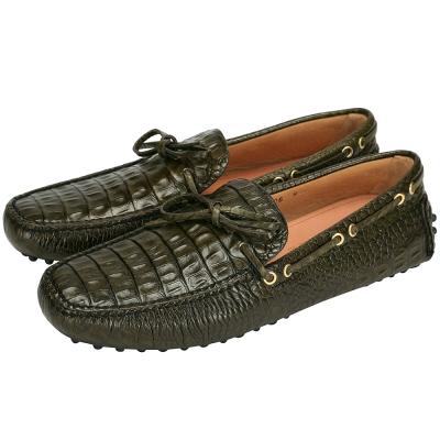 CAR SHOE 鱷魚壓紋設計綁帶豆豆休閒鞋(墨綠色)