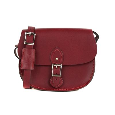 The Leather Satchel 英國手工牛皮馬鞍包 手拿 肩背包 葡萄紅