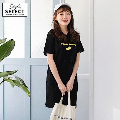 檸檬字母刺繡高含棉寬版連帽洋裝-OB嚴選