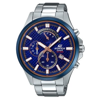 EDIFICE首選運動風賽車藍主題設計大錶面三眼腕錶(EFV-530DB-2)47.2mm