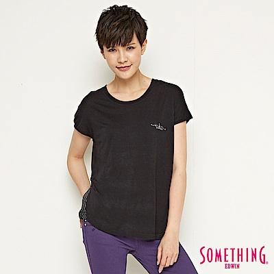 SOMETHING 都會簡約點點拼接造型T恤-女-黑色