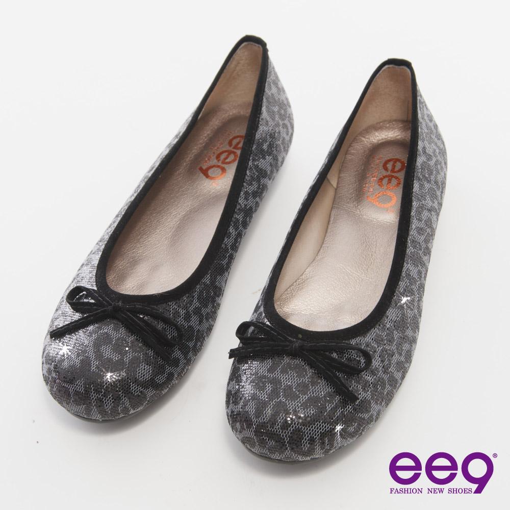 ee9都會優雅~悠閒時光豹紋亮片蝴蝶結豆豆娃娃鞋~黑色