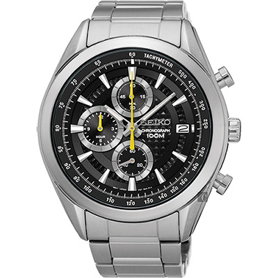 SEIKO 精工 競速巔峰時尚計時腕錶(SSB175P1)-黑/45mm
