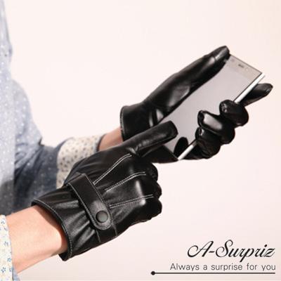 A-Surpriz-時尚騎士扣環男用亮面觸控皮手套-黑