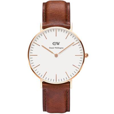 DW Daniel Wellington St Mawes經典皮革腕錶-白X咖啡/36mm