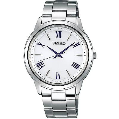 SEIKO精工 太陽能 簡單愛三針設計腕錶(SBPL007J)-白/39mm
