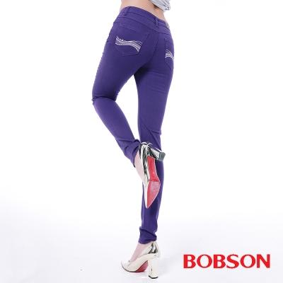 BOBSON 女款高腰膠原蛋白彩色小直筒褲 -紫色