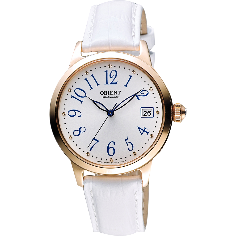 ORIENT 東方錶 花漾年華機械女錶-銀x玫塊金框x白/36mm