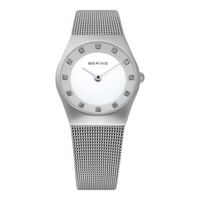 BERING丹麥精品手錶 晶鑽米蘭帶系列 藍寶石鏡面  銀白 小錶面27mm