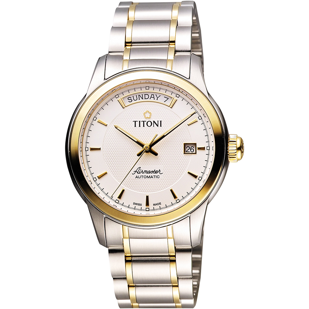 TITONI Airmaster 紳士時尚Day-Date機械腕錶-銀x雙色版/39mm