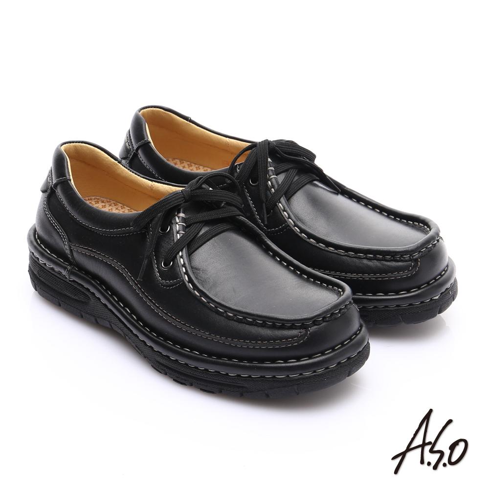 A.S.O 抗震雙核心 蠟感牛皮雙縫線綁帶奈米休閒皮鞋 黑色